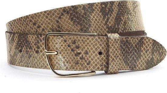 Dames riem bruin/ brons met slangenprint