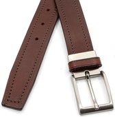 Nette pantalon riem bruin 3 cm breed - Bruin - Casual - Leer - Taille: 100cm - Totale lengte riem: 115cm - Unisex riem