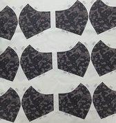Stof voor mondkapjes van 100% katoen | voorbedrukt paneel |12 mondkapjes om zelf te naaien - exclusieve designs - comouflage - Zwart