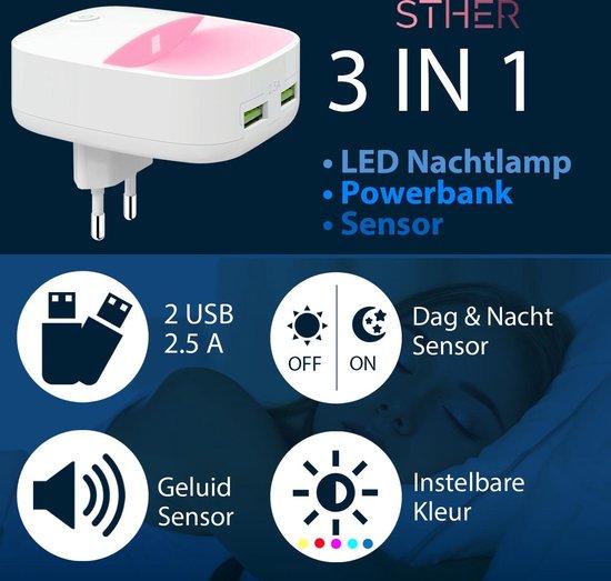 STHER© LED Nachtlampje Stopcontact met 2x USB - Nachtlampje Kinderen - Bewegingssensor - Dag en Nacht Sensor- 16 Kleuren