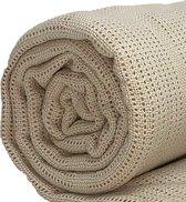 Homéé® pure'cotton - Plaid Cellular dekentje beige - 130x180 cm