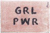 """Deurmat / tapijt roze met tekst """" grl pwr """""""