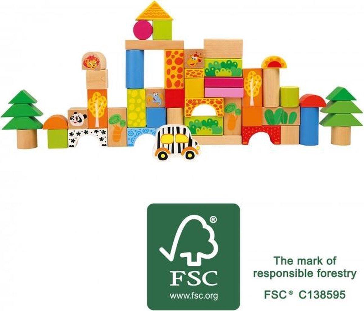 Small Foot massieve blokken gemaakt van FSC® 100% - Gecertificeerd hout met schattige dierentuindieren