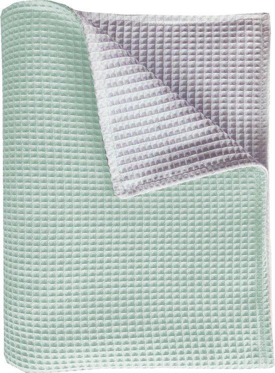 BINK Bedding ledikantdeken Pique (Wafel) dubbelzijdig mint/wit 100 x 150 cm