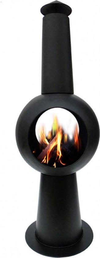 2L Terrasverwarmer Tuinhaard IBIZA - gecoat matzwart metaal / terrashaard / terraskachel / buitenhaard / terrasverwarmer / vuurkorf