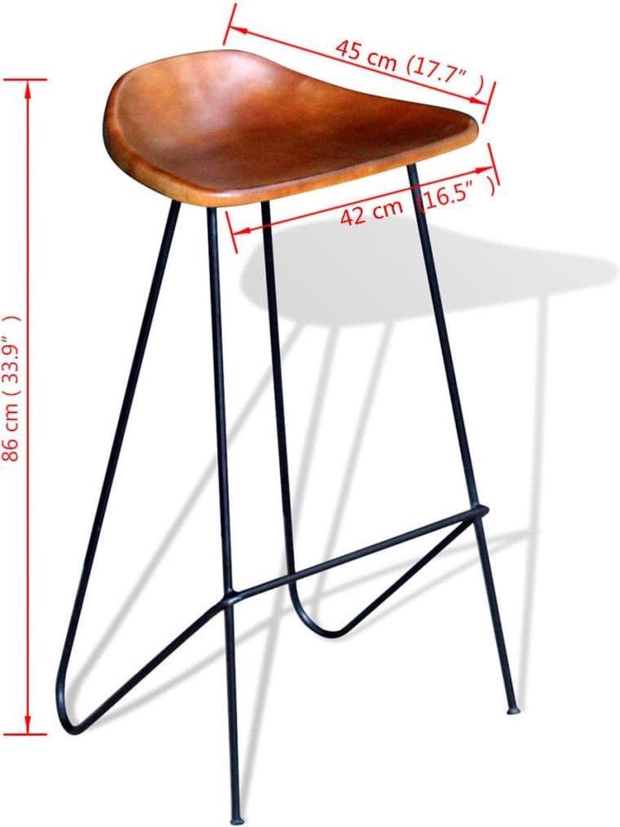 vidaXL Barstoelen 2 st echt leer zwart en bruin - vidaXL