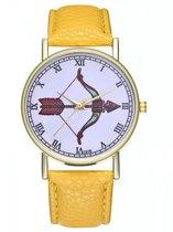 Hidzo Horloge Pijl en Boog Ø 38 - Geel - Kunstleer - In Horlogedoosje