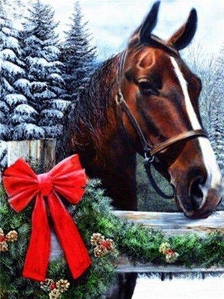 Premium Paintings - Paard met Strik - Diamond Painting Volwassenen - Pakket Volledig / Pakket Full - 30x40 cm - Moederdag cadeautje