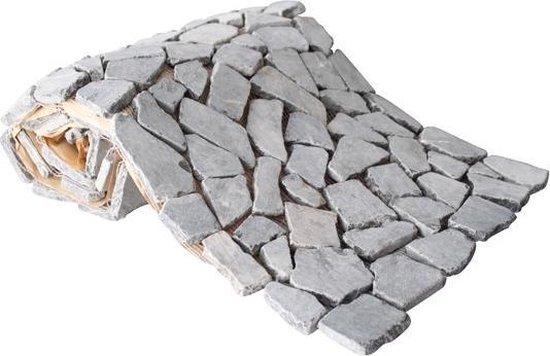 Mozaiek Beachstone rol dark-grey 34,0x150,0 cm -  Grijs Prijs per 1 rol. - Merkloos