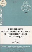 Omslag Expériences d'éducation sanitaire et nutritionnelle en Afrique