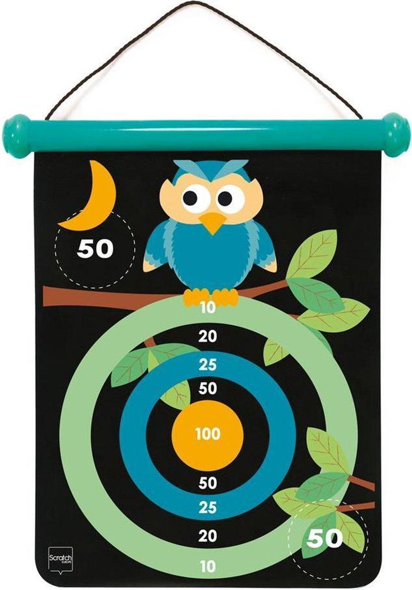 Scratch Active Play: MAGNETISCHE DARTS medium / Uil 40x31cm, 2-zijdig bedrukt, in tube, 5+