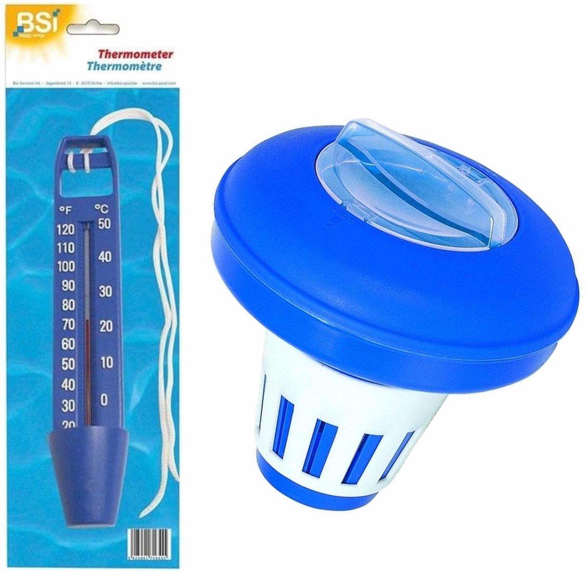 Zwembad chloordrijver/chloorverdeler voor tabletten 200 gram incl waterthermometer