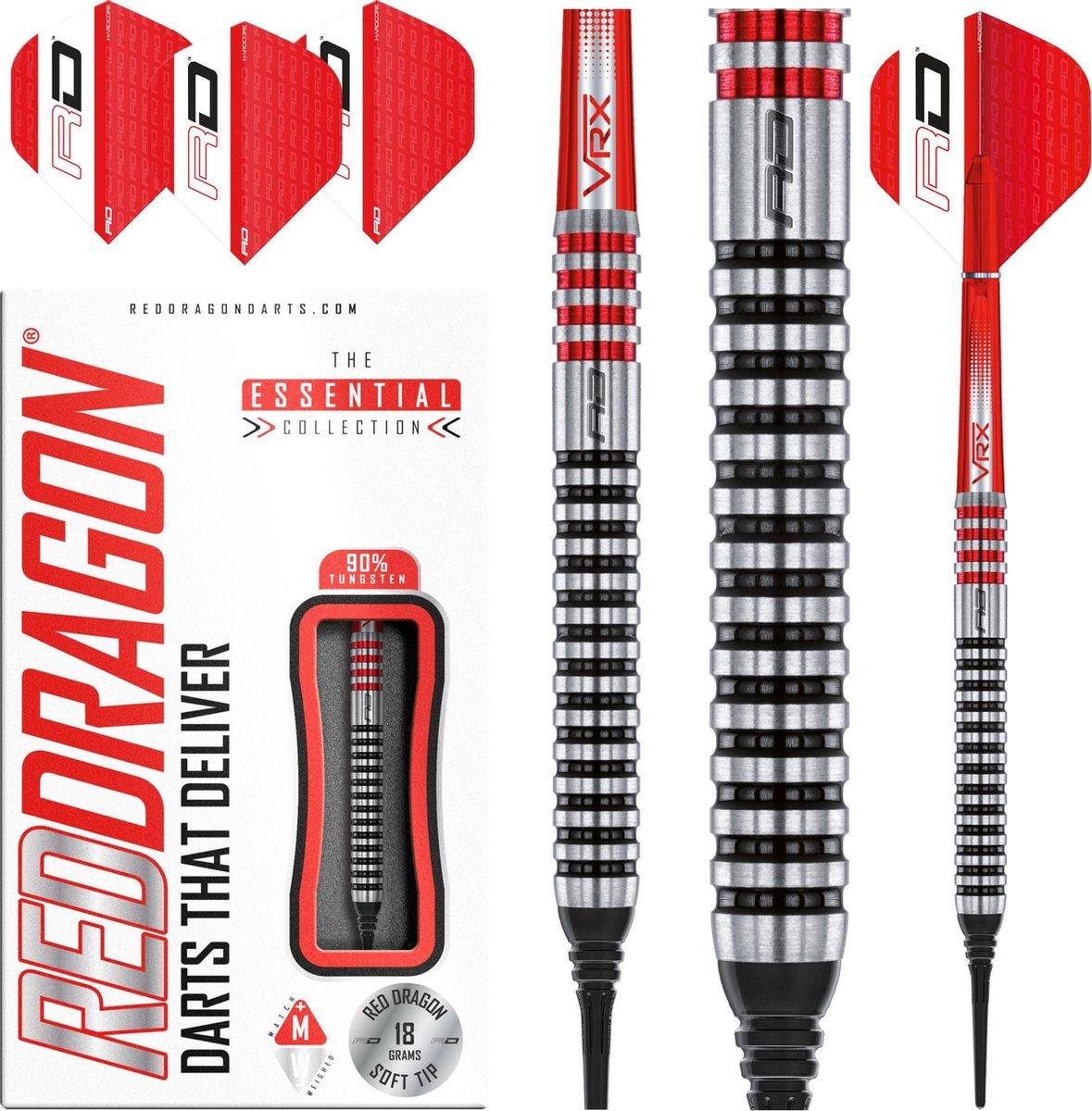 RED DRAGON - GT3's Softip Tungsten Steel Dartpijlen Professioneel - 18 gram vat, 20 gram totaal gewicht