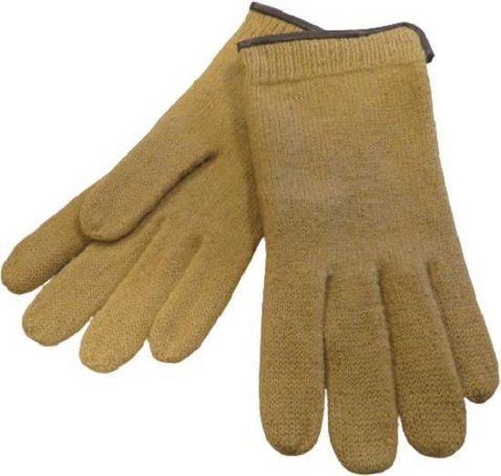 Handschoenen heren van 100% wol en met echt leren randje