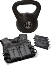 Tunturi - Fitness Set - Gewichtsvest 10 kg - Kettlebell 16 kg