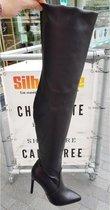 Zwarte overknee laarzen met 11 cm hoge hak | Stretch overknees voor volle kuiten met naaldhak
