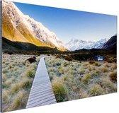 Pad naar de bergen Aluminium 90x60 cm - Foto print op Aluminium (metaal wanddecoratie)