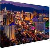 Las Vegas by night Canvas 120x80 cm - Foto print op Canvas schilderij (Wanddecoratie woonkamer / slaapkamer) / Steden Canvas Schilderijen