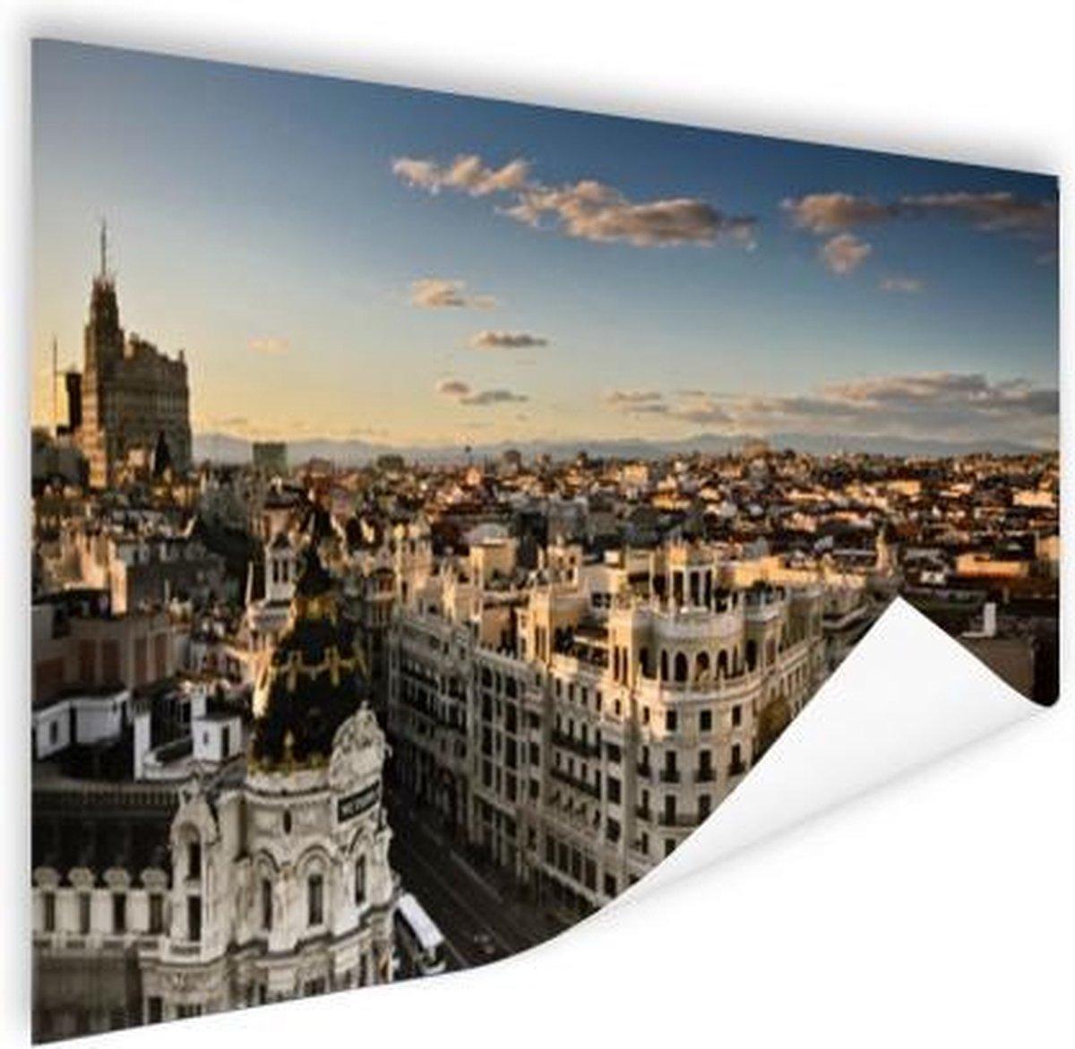 Gran Via Madrid Poster 180x120 cm - Foto print op Poster (wanddecoratie woonkamer / slaapkamer) / Steden Poster XXL / Groot formaat!