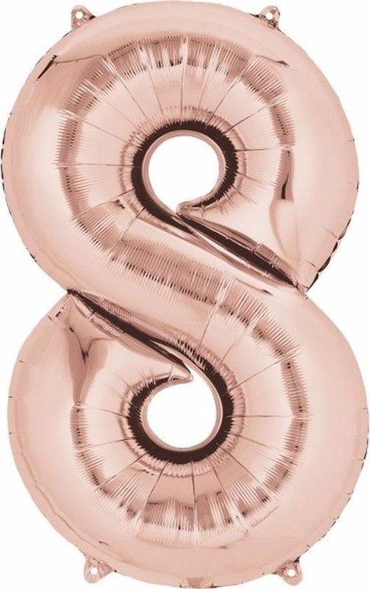 Folie ballon cijfer 8 rose goud