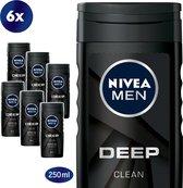 NIVEA MEN Deep Clean Douchegel - 6 x 250ml - Voordeelverpakking