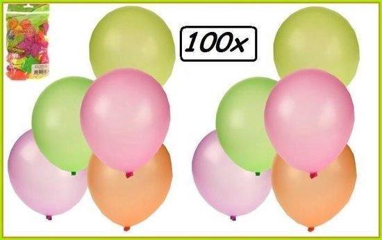 Ballonnen neon(fluor) assortie kleur per 100