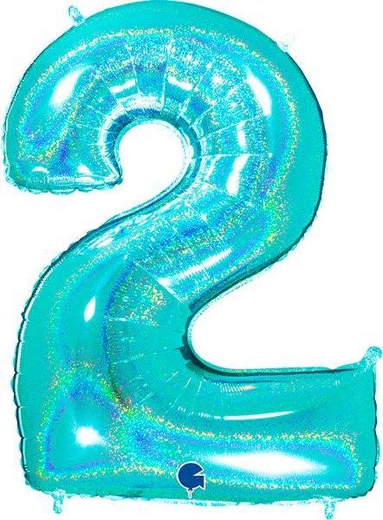 Cijfer 2 Glitter Tiffany Blue (102cm)