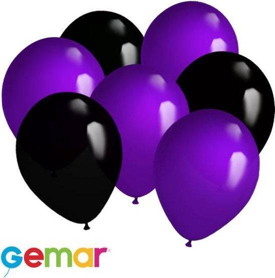 30x Ballonnen Paars en Zwart (Ook geschikt voor Helium)