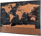 Scratch map deluxe / kras wereldkaart XL met vlaggen - zwart/geel