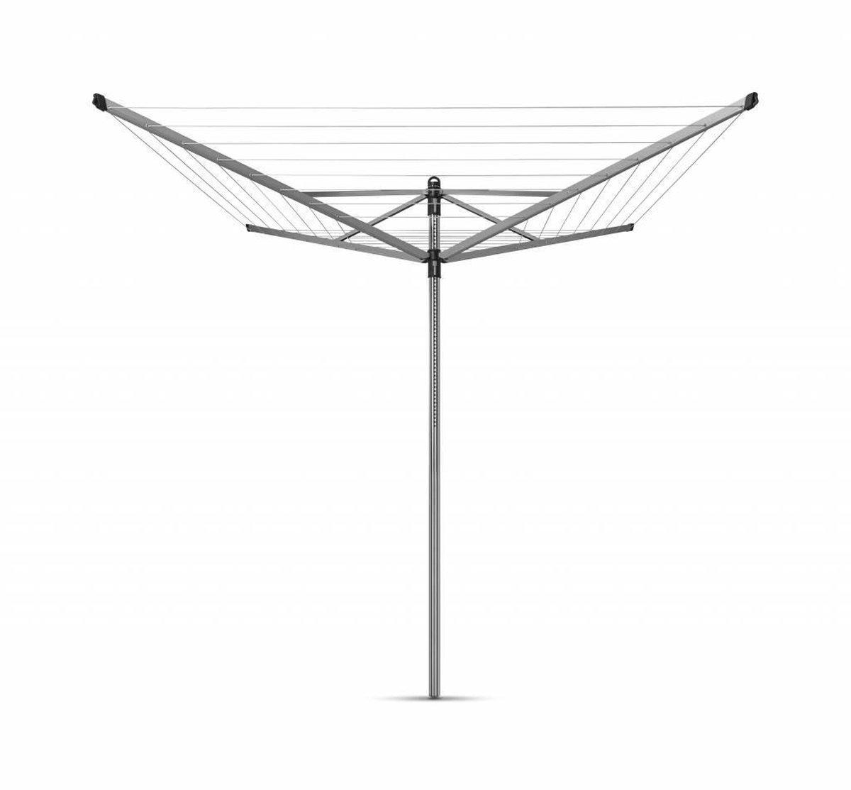 Brabantia Lift-O-Matic Droogmolen met Grondanker - 50 m - Metallic Grey
