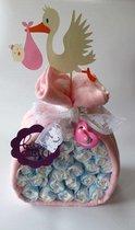 Luiertaart Ooievaar Roze   Kraamcadeau   Kraampakket   Baby Cadeau