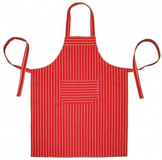 Keukenschort Rood gestreept per 2 stuks - 70x100