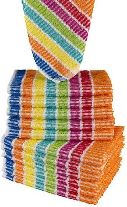 Vaatdoeken regenboog gestreept   set van 20 stuks - 35x35
