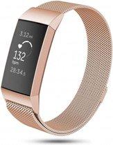 Fitbit Charge 3 & 4 bandje van By Qubix - milanese -  Maat: small - Rose Goud - magneetsluiting - Inclusief garantie!