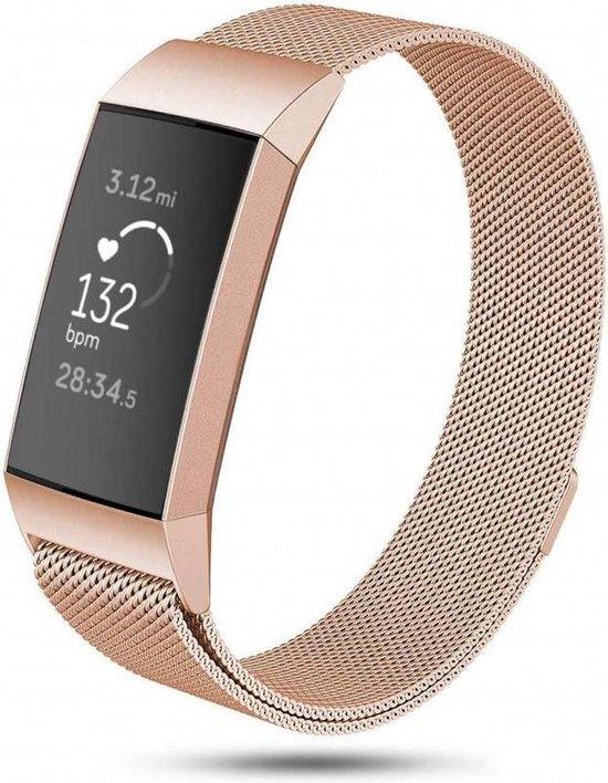 Fitbit Charge 3 & 4 bandje van By Qubix - milanese - Maat: small - Champagne Goud- Geschikt voor activity tracker Fitbit charge 3 & 4 - magneetsluiting - Inclusief garantie!