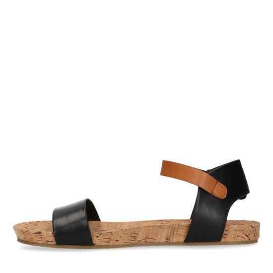 | Sacha Dames Zwarte leren sandalen met cognac