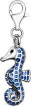 Quiges - Charm Bedel Verzilverd Hanger 3D Zeepaardje met Emaille Blauw - Dames - Verzilverd - QHC137