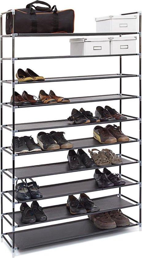 Relaxdays schoenenrek XXL - 50 paar schoenen - 10 etages - textiel zwart