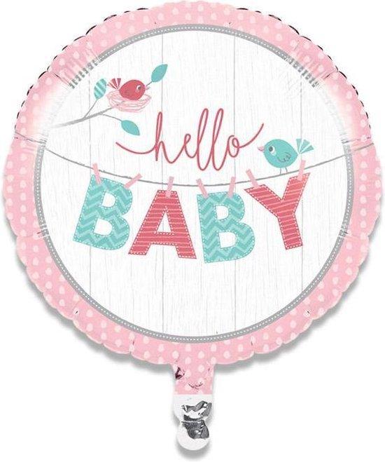 Folieballon hello baby girl (45cm)