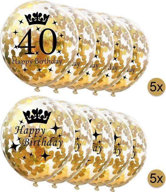 10 stuks confetti ballonnen - 5 stuks 40 jaar + 5 stuks Happy Birthday - Gouden Confetti - Verjaardag - Versiering