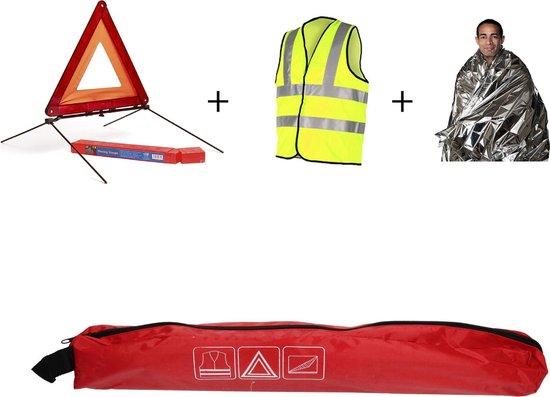 Auto 3-delige Veiligheid Set voor op de Weg – 45x7x7 cm | ANWB Veiligheidsset met Reflecterend Vest, Isolatiedeken en Gevarendriehoek | Autobenodigdheden