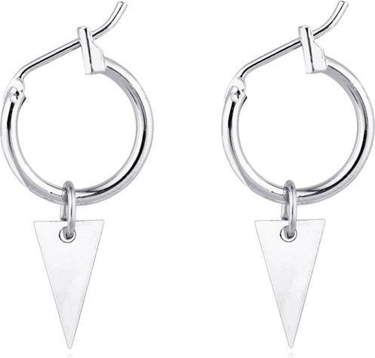 Triangle earrings - Triangle earring - Driehoek oorbellen - Zilver - Merkloos