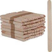 relaxdays ijsstokjes hout - 500 stuks - knutselhoutjes - houten stokjes