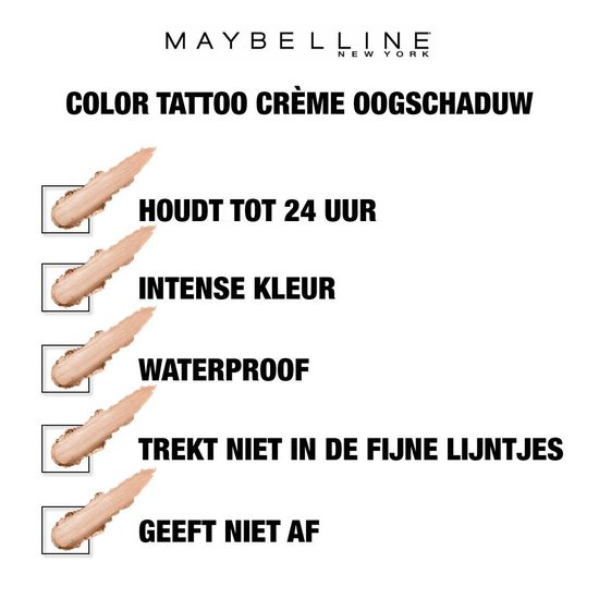 Maybelline Color Tattoo 24H Oogschaduw - 210 Front Runner - Nude