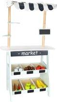 Mamabrum Houten Marktkraam Groot - Groenten en Fruit Set - Speelgoed Winkeltje Hout