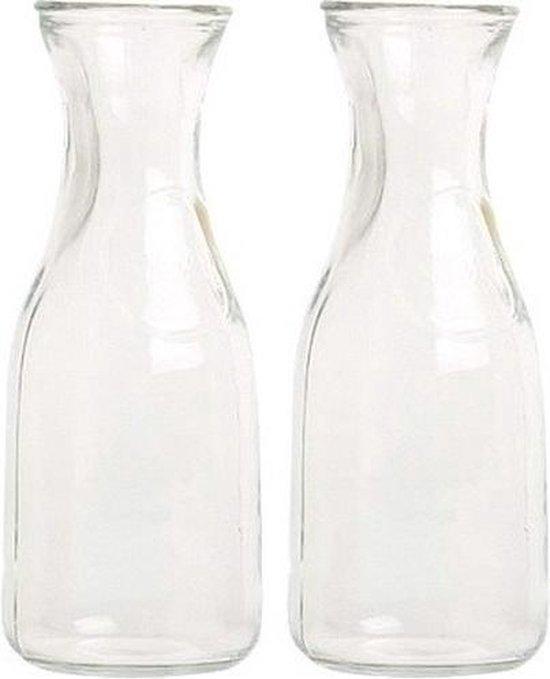 2x Glazen water/sap/wijn karaffen van 0,5 liter - Karaf glas voor op tafel/keuken artikelen