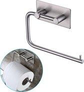 LifeGoods Zelfklevende RVS Toiletrolhouder - WC Closet Rol Houder Hangend met Zuignap en zonder Klep - Badkamer & Toilet Accessoires - Muur Bevestiging - 1 Stuk