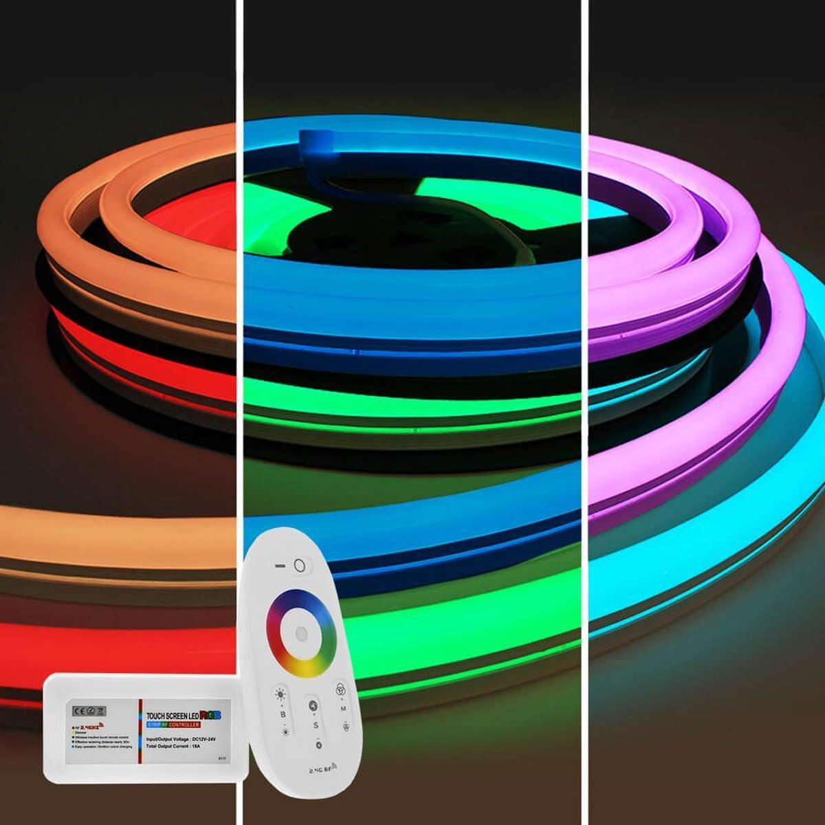3 meter RGB Neon LED flex Maxi rond - complete set neon verlichting