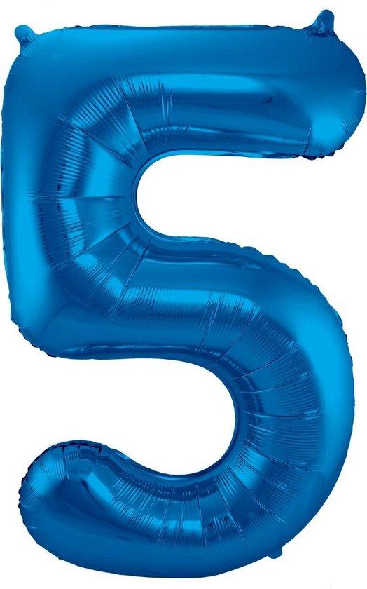 Folie ballon nummer 5 - blauw - 86cm