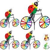 relaxdays 4 x windmolen - fiets - windspel - tuinsteker - tuin - kinderen decoratie